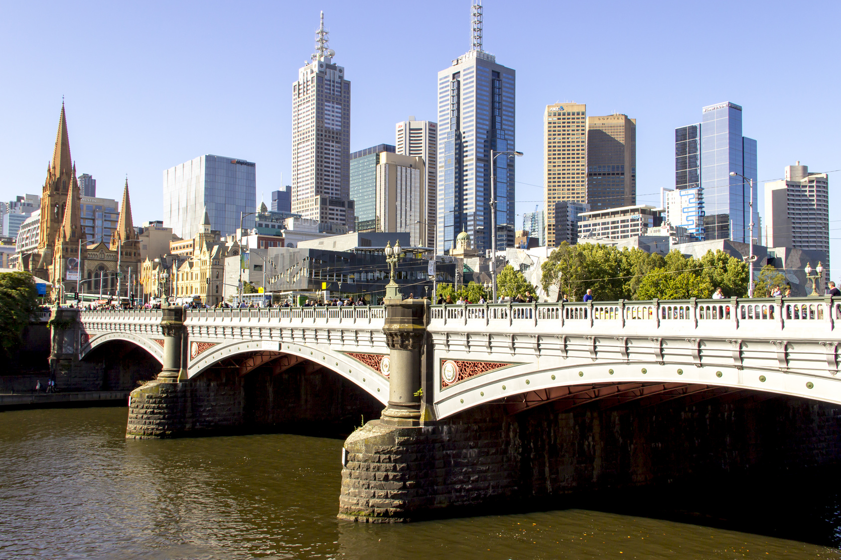 Prince bridge scenery city of Melbourne on modern and vintage building style