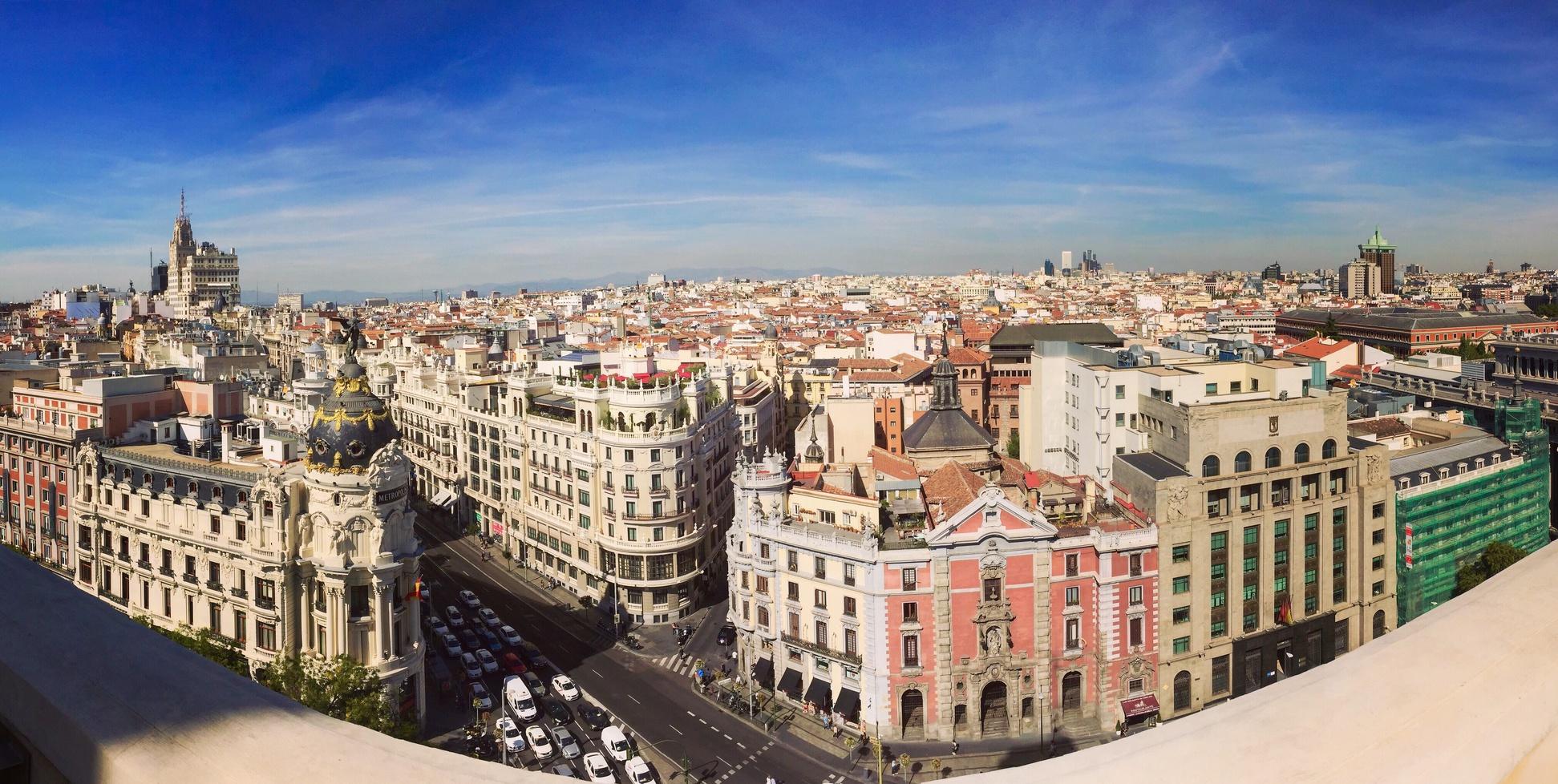 Skyline von Madrid. Panorama der Hauptstadt von Spanien.