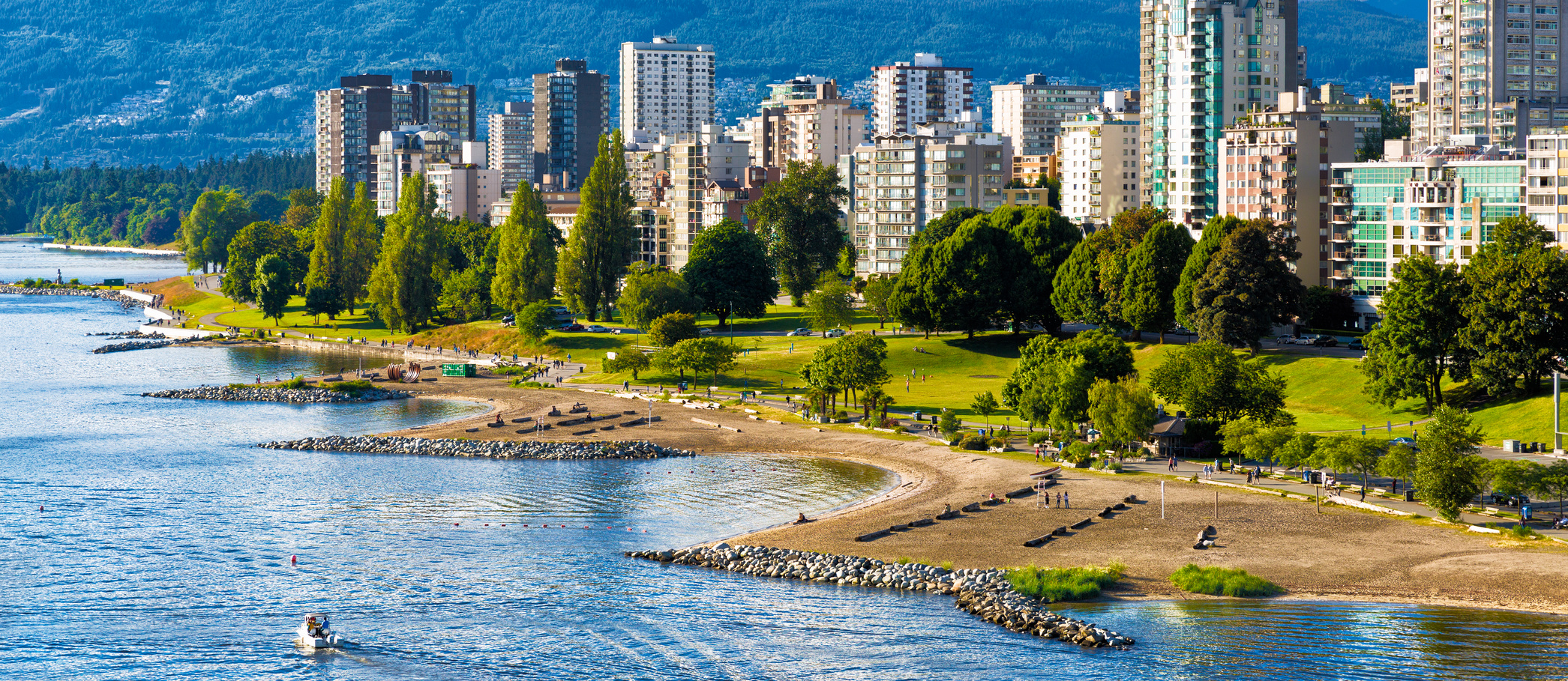 Vancouver beaches panorama, aerial view